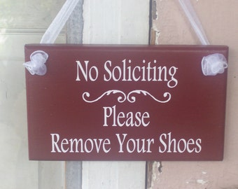 No Soliciting Please Remove Shoes Sign Wood Vinyl Farmhouse Chic Rustic Country Red Home Porch Sign Door Hanger Decor Take Off Shoes Before