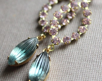 Elizabeth Earrings - Vintage Swarovski & Glass - Brass - Gold Plated Leverback Earwires