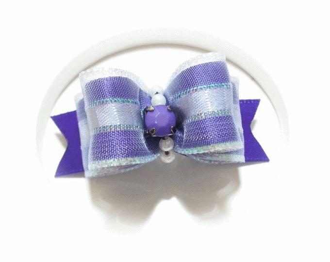Fancy Purple Satin Dog Bow for Yorkie, Shih Tzu, Poodles