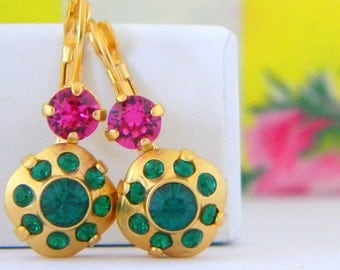 Swarovski Emerald Fuschia Pink Rose Cushion Cut Gold Leverback Earrings