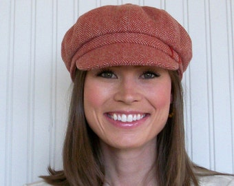 Womens Newsboy Hat - Newsboy Cap - Terracotta Wool Herringbone - Womens Hats -Winter Hat - MADE TO ORDER