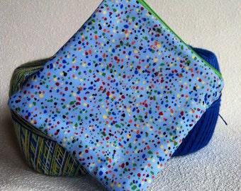 Blue spotty square zipper pouch