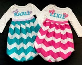 Boutique monogrammed GOWN or TWIN set -New baby, coming home outfit. Baby clothing