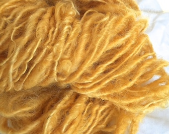 Handspun Yarn - SUNFLOWER YELLOW bulky, textured, crochet, knitting supplies, weaving,waldorf doll hair 65yds.