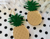 Mirrored Gold and Green Acrylic Pineapple Earrings
