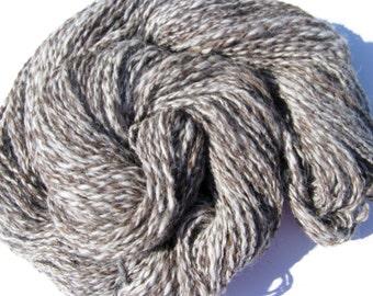 Handspun Yarn, Alpaca Yarn for Knitting, Crochet, Felting, and Weaving, Brown and White Yarn, Worsted Weight, 120 yards, 3 ounces