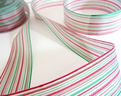 "Ribbon Sheer Variegated Stripes Christmas Trim 1.5""  Listing 2 yards"
