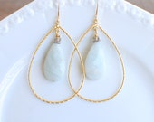 Gold Hoop with Amazonite Teardrop Edisto Collection. Bridesmaids Earrings.