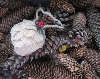 natural BURLAP fabric PINE CONE hanging FoReST ornament