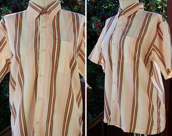 DEADLINE 1970's 80's Vintage White Orange Yellow + Blue Striped Button Down Shirt // size Medium // by SAHARA Club
