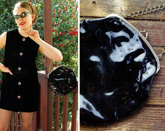 SHINY 1960's Vintage Black Patent Vinyl Purse with Heavy Silver Chain and Frame // Striped Lining