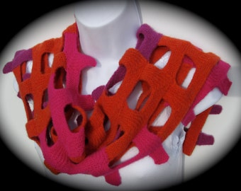 Hand knit open weave felted wool scarf in a square pattern in red, pink, purple and orange, asymmetrical scarf,  long scarf, chunky scarf