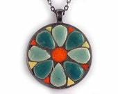 Teal and Orange Flower  - Mosaic Art Jewelry Pendant Made with Small Ceramic Tiles