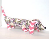 Pink and Gray Softie for Kids Plush Wiener Dog Toy Dachshund Baby Toy Stuffed Animal GWEN