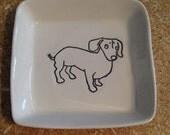"Dachshund 3"" square porcelain dish"