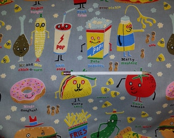 Snappy Snacks on Gray Happy Food Cotton Fabric Michael Miller 1 Yard