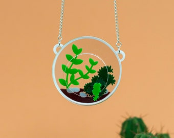 Round Cactus Terrarium Necklace with succulent plants laser cut and handmade in the UK