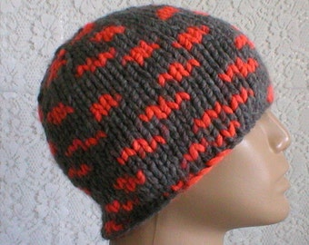 Grey neon orange beanie hat, skull cap, hunter hiking cap, grey hat, knit hat, winter hat, toque, ski snowboard, mens womens hat, chemo cap