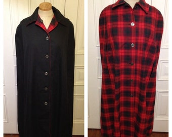 Vintage 60s reversable black plaid cape coat