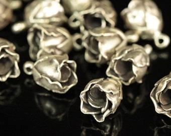 4KH-016 thai karen hill handmade tribe silver 2 rose charm