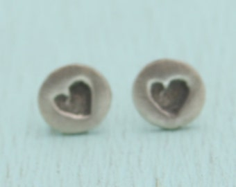SIMPLY LOVE studs, HEART earrings, eco-friendly sterling silver.  Handcrafted by artisan Chocolate and Steel heart studs handmade