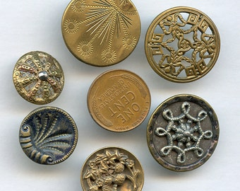 Victorian Metal Buttons of (6) UNUSUAL and BEAUTIFUL DESIGNS Lot Antique Metal, Pierced, Cut Steel 9726