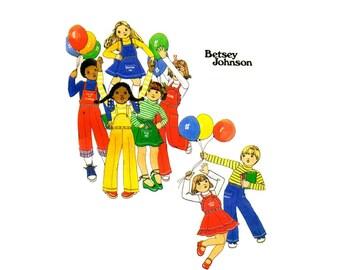 1970s Betsey Johnson Girls Skirt Pants Detachable Bib T-Shirt Butterick 4986 Vintage Sewing Pattern Size 5 OR Size 6 UNCUT