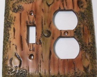 Bark of a tree single toggle light switch cover with single outlet cover