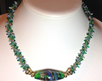 Art Bead Kumihimo Necklace in Blue and Green with Extender and GF Clasp