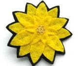 Yellow Dahlia Brooch, felt flower brooch