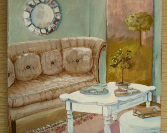 english cottage/setting room/trendy couch/interior still life/flea market finds/furniture painting