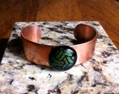 Copper Cuff Bangle Bracelet With Green Fused Dichroic Glass Cabochon