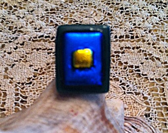 Sterling Silver Dichroic Fused Glass Adjustable Ring