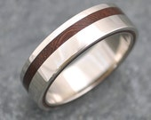 Size 7.5 READY TO SHIP Equinox Nacascolo Wood Ring with Recycled Silver - wood wedding ring, women's wood ring