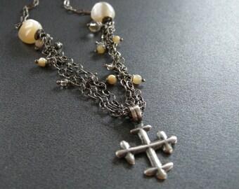 coptic cross necklace, gemstones and coptic cross jewelry