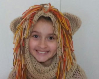 Hand knit Lion Mane hood cowl... child sized...made to order