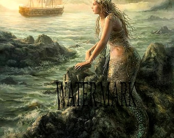 Mermaid on rock*Instant digital download*Great one*Decoupage*Collage*art work*quilt making*sewing