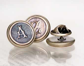 Custom Initial Tie Tack, Made to Order - Perfect Groomsmens Gifts, Antiqued Brass, Shipped Quickly