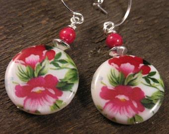 Fushia pink flowers, green leaves on genuine shell beads, fossilized dinosaur bones handmade earrings