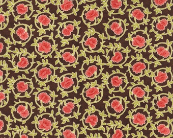 SALE - Somerset - Scroll Mums in Chestnut Brown: sku 20231-16 cotton quilting fabric by Fig Tree for Moda Fabrics - 1 yard