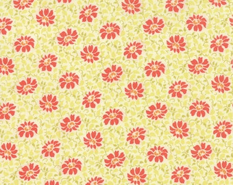 SALE - Somerset - Floral Swirls in Creme and Poppy: sku 20232-27 cotton quilting fabric by Fig Tree for Moda Fabrics - 1 yard