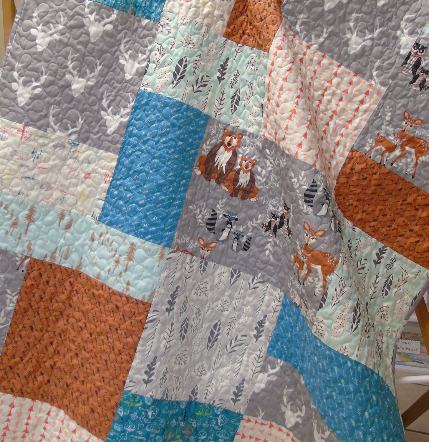 Woodland Baby Boy Quilt Hello Bear Rustic Nursery Crib Bedding