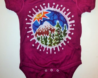 Children's Mountain Sun Batik One Piece with a Spiral Sun on the Back