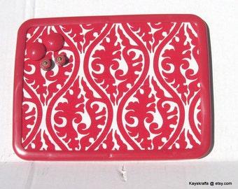 Lipstick Red Damask Magnetic Board Magnetic Bulletin Board Magnet Board, Magnetic Memo Board, 8x11,  Kitchen Decor Teens Bedroom Decor