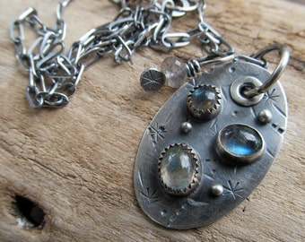 Silver Pendant Necklace Labradorite Riveted Dog Tag Charm Necklace Stamped Riveted silver pendant Chain