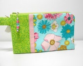 Bright Floral Wristlet with Beaded Zipper Pull