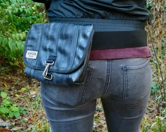 Recycled Bike Tube Hip Pouch (Large)