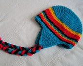 Baby Earflap Hat Size  6 to12 months Hand Crochet in Blue, Red, Yellow and Black  Ready to Ship