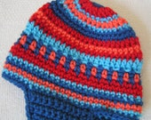 Baby Earflap Hat Blue, Red and Orange Size 3 to 6 months Hand  Crochet  Ready to Ship