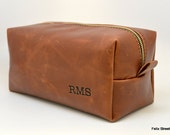 Large Whiskey Leather Shaving Bag With Optional Interior Message